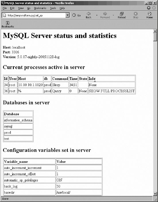 A Complete Example | Using MySQL Stored Programs with Python
