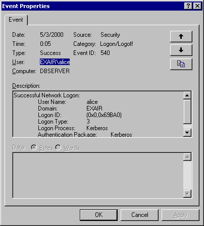 Windows 2000 Will Also Show That The User Has Successfully Logged On To Computer As Shown In Figure 11 6 But A SQL Server Trace Request