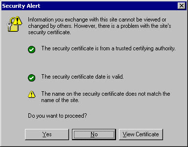 Security Alert While Using SSL TLS