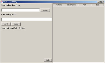 click to expand: this figure shows the file search utility window with two text boxes, search for file(s) in and containing text, in the left pane, and an empty space in the right pane.