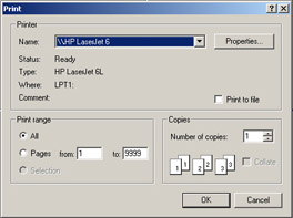 click to expand: this figure shows the print dialog box, which displays three panels: printer, print range, and copies.