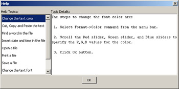 click to expand: this figure shows the help dialog box, which contains a help topics list box and a topic details text area.