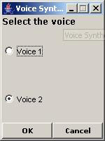 this figure shows the dialog box to select the voice for the voice synthesizer application.