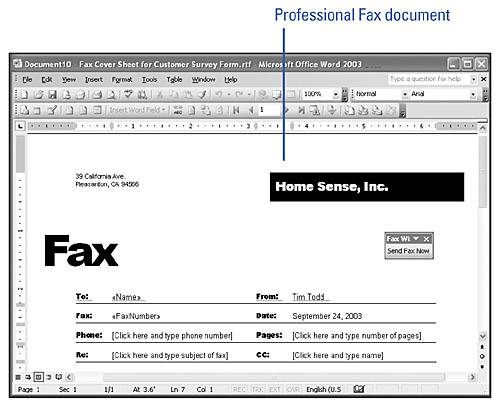 Creating A Fax Cover Sheet