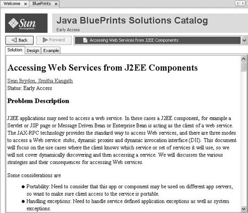 Getting the most from the java blueprints solutions catalog a blueprint with the solution tab selected malvernweather Gallery