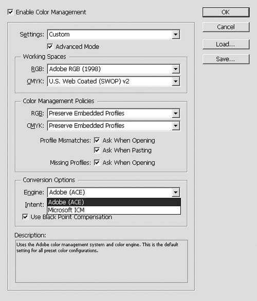 Choosing Color Settings   InDesign CS4 for Macintosh and