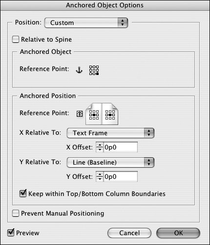 how to change position of text in indesign