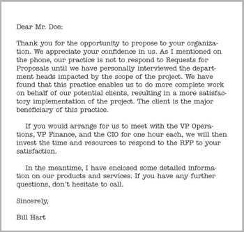 Rfp cover letter response