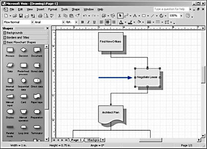 figure 1-2. when you drag a shape that's connected to other shapes, visio's built-in 'intelligence' takes care of the connections for you and reroutes lines automatically.
