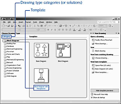 figure 1-3. when you start visio, you can preview sample diagrams for each template within a category.