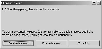 figure 1-20. if you open a visio drawing file that includes a built-in macro, as many visio drawings and templates do, this message appears.