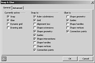 figure 3-17.  choose tools, snap & glue to control the glue settings that visio uses when you connect shapes.