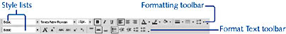 figure 4-18. both the formatting and format text toolbars contain shortcuts for formatting text. the formatting toolbar has the advantage of including the font formatting buttons, but the format text toolbar includes shortcuts for changing margins and creating bulleted lists.