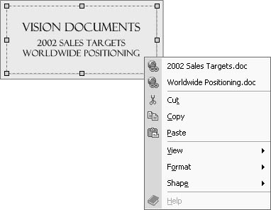 figure 5-1. when you define one or more hyperlinks, visio adds the links to the shape's shortcut menu.