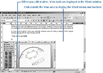 figure 7-4.  when you edit a visio diagram in place, you can use the visio tools to create a diagram within your application window.
