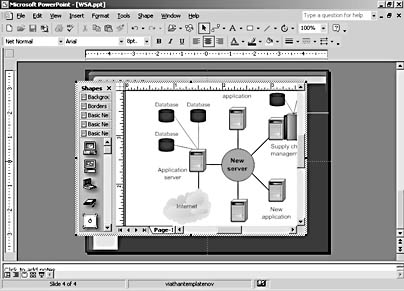 figure 7-6.  you can open stencils from within the visio editing window when you're working on an embedded diagram.