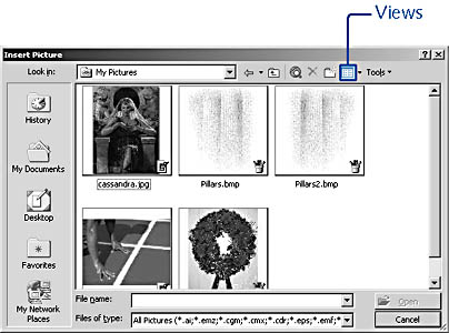 figure 7-9.  the view thumbnails option makes it easier to find the picture you want but slower to scroll through many picture files.