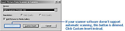 figure 7-11.  if a scanner or digital camera is installed on your computer, or if you have access to these devices over a network, you can bring pictures directly into visio by choosing insert, picture, from scanner or camera.