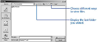 figure 8-1. you can save files in different locations and formats in the save as dialog box. place the pointer over the buttons in the save as dialog box to display a screentip.