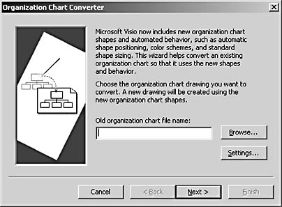 figure 10-4.  you must convert organization charts created in visio 5b or earlier to work with the tools in visio 2002.