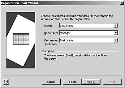 figure 10-8.  the wizard assumes that your data source provides the full employee name in a single field. if not, use both the name and first name lists on this screen.