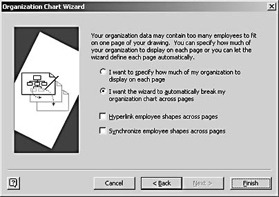 figure 10-11.  you can specify where to break a large organization chart across pages or let the wizard do it for you.
