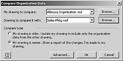 figure 10-15.  use the compare organization data dialog box to compare the employee information in two versions of an organization chart.