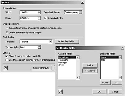 figure 10-19.  use the options command on the organization chart menu to specify shape and text settings for your diagram. use the set display fields command to choose the text that appears on shapes.
