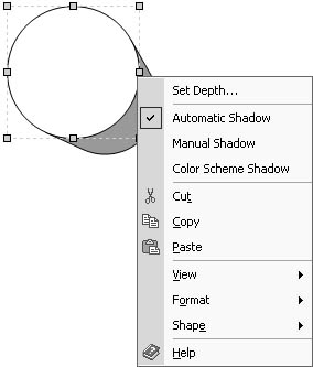 figure 11-12. right-click the shape to change the depth and color of its shadow.