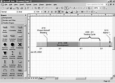 how to draw a timeline in visio
