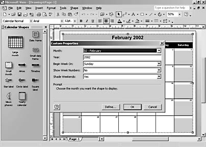 figure 12-5. when you use a calendar shape, visio prompts you for date and formatting information.