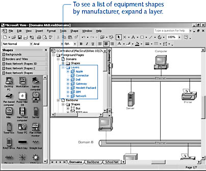 figure 14-8. the drawing explorer window lists all the layers on a page and all the shapes assigned to a particular layer.