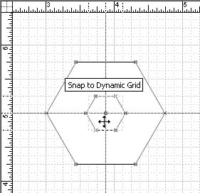 figure 16-17. when you drag a shape onto the dynamic grid, dotted lines show you where to drop it to align it with the shapes near it.