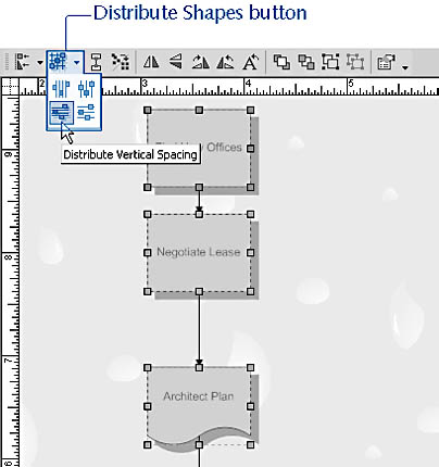 figure 16-29. you can quickly space shapes evenly with the distribute shapes button on the action toolbar or with the command on the shapes menu.