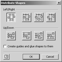 figure 16-30. use the distribute shapes dialog box to create even spacing between shapes.