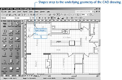 figure 17-1. an inserted cad floor plan provides an accurate backdrop for electrical, hvac, network, or other shapes, which you can drop on top.