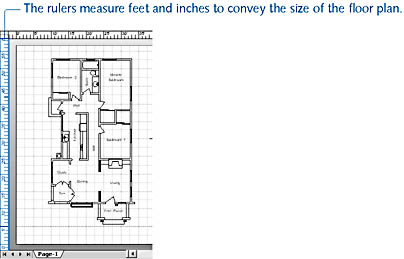 figure 17-2. on the visio drawing page, coordinates are measured in units that correspond with the actual size of the represented objects