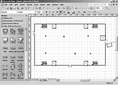 figure 18-2. you can quickly create a simple building shell in visio professional by adding walls and other structural elements.