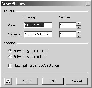 figure 18-12. the array shapes command in visio professional helps you create an evenly spaced grid of shapes, such as for a tiled ceiling.