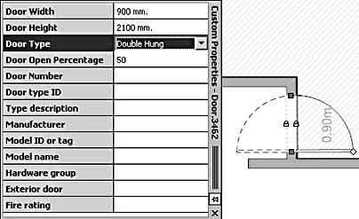 figure 18-13. you can change a single hung door to double hung in the custom properties window. to see a shape's properties, right-click the shape, and then select properties. or choose view, custom properties window to keep the window open while you work.