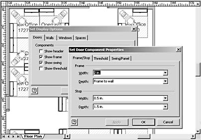 figure 18-14. the set display options dialog box controls the appearance of all the shapes on a page. the properties button in this dialog box opens the set component properties dialog box, where you can set default specifications that are used in reports.