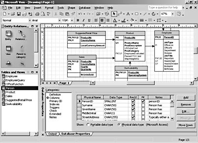 Modeling relational and object relational databases for Table design visio