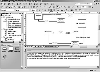 figure 20-2. visio performs semantic error checking on data flow diagrams and displays notes in the output window about invalid model elements.