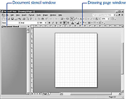 figure 21-1.  a visio file includes a drawing page and a document stencil. the file name extension determines whether visio opens both a drawing page window and a stencil window.