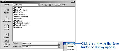 figure 21-6.  if you specify read only when you save a stencil file, the original stencil cannot be opened for editing until you clear the read only flag in windows.