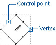 figure 22-1. when you select a shape with the pencil tool, its vertices and control points are displayed so that you can control shape geometry.