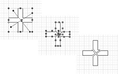 figure 22-19. with the fragment command, two lines and a cross shape become four new shapes, which you can pull apart.