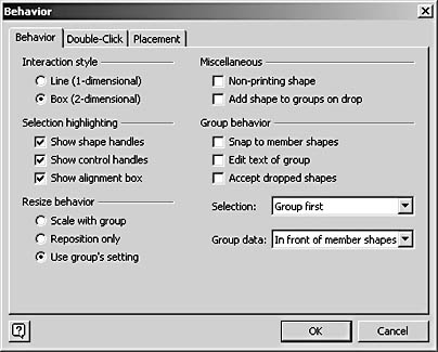 figure 22-28. the group behavior settings in the behavior dialog box are available only when you select a group.