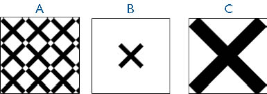figure 23-17. you can design a fill pattern that tiles when applied to a shape (a), is centered in a shape (b), or stretches to fill a shape (c).