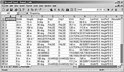 figure 24-3.  when you export shape properties, visio creates a new table in an existing database or a newtable worksheet in an existing excel file, as shown here.